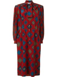 Jean Louis Scherrer Vintage Printed Dress Red