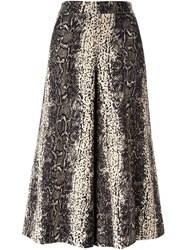 Manoush Lizardskin Effect Wide Leg Cropped Trousers Nude And Neutrals