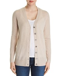 Bloomingdale's C By Cashmere Grandfather Cardigan 100 Exclusive Heather Oatmeal