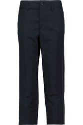 Rag And Bone Ashbury Cropped Cotton Linen Blend Pants Midnight Blue