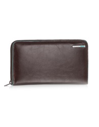 Piquadro Blue Square Zip Around Leather Wallet Brown