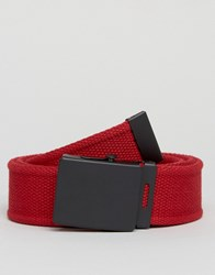 Asos Woven Belt With Black Coated Buckle Red