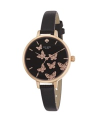 Kate Spade Novelty Metro Butterfly Enamel Rose Goldtone Stainless Steel And Saffiano Leather Strap Watch Rose Gold Black