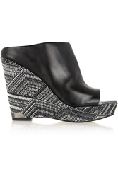 Sam Edelman Kylie Embroidered Leather Wedge Sandals