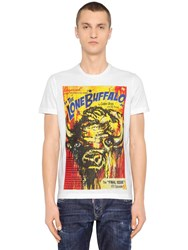 Dsquared Surf Fit Buffalo Printed Jersey T Shirt White