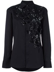 Dsquared2 Floral Embroidered Shirt Black
