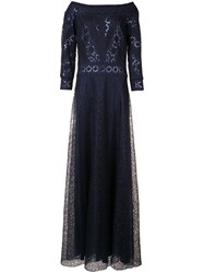 Tadashi Shoji Sequin Embroidered Dress Blue