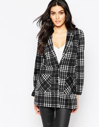 Ax Paris Boyfriend Jacket In Dogtooth Black