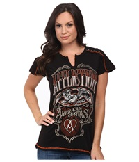 Affliction Cask Strength Short Sleeve Slit Neck Paneled Tee Black Brown Lava Wash Women's T Shirt