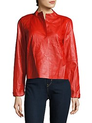 Lafayette 148 New York Solid Textured Leather Jacket Ruby Red