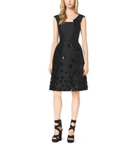Michael Kors Silk And Wool Shantung Embroidered Pleat Dress Black