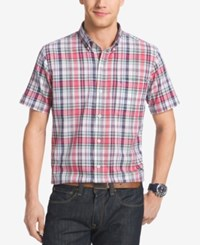 Izod Men's Big And Tall Plaid Short Sleeve Shirt Claret Red