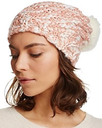 Aqua Ribbed Slouchy Hat With Rabbit Fur Pom Pom 100 Bloomingdale's Exclusive Ballet Ivory