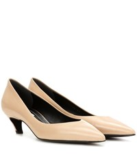 Balenciaga Leather Kitten Heel Pumps Beige