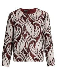 Giambattista Valli Leaf Jacquard Round Neck Top Burgundy Multi