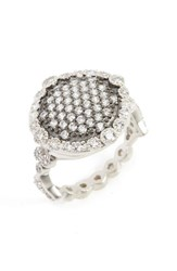 Freida Rothman Women's 'Mercer' Pave Disc Ring Rhodium And Black Rhodium