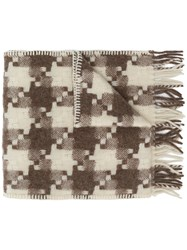 Our Legacy Fringed Check Scarf Neutrals