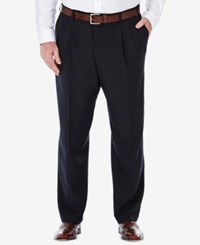 Haggar Men's Big And Tall Stria Classic Fit Eclo Double Pleated Dress Pants Navy