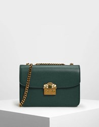 Charles And Keith Embellished Push Lock Clutch Green