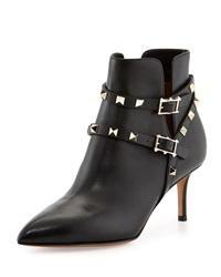 Rockstud Strappy Ankle Boot Black Valentino