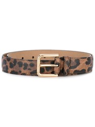 Dolce And Gabbana Leopard Print Belt Women Cotton Polyester Polyurethane 85 Brown