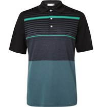 Kjus Golf Stevie Striped Pique Polo Shirt Gray
