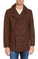 Schott Nyc Men's Slim Fit Wool Blend Peacoat Brown
