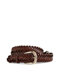 Reiss Hellier Plaited Leather Belt In Tan