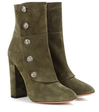 Aquazzura Private Boot 105 Suede Ankle Boots Green