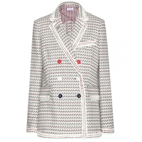 Thom Browne Tweed Blazer Light Grey Graphic With Red White Blue