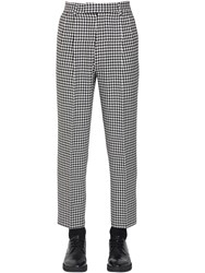 Alexander Mcqueen 19Cm Cropped Wool Houndstooth Pants Black