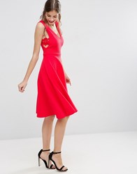 Asos Full Midi Dress With Lace Side Panel Detail Bright Red