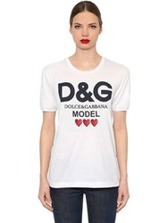 Dolce And Gabbana End Violence Printed Jersey T Shirt White