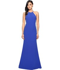 Faviana Crepe Halter W Strap Sides S7913 Royal Women's Dress Navy