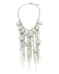 Ben Amun Rock Star Crystal Chain Fringe Necklace Silver