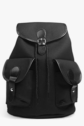 Boohoo Ruby Pu Detailed Canvas Rucksack Black