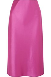 Nanushka Zarina Stretch Hammered Satin Midi Skirt Fuchsia