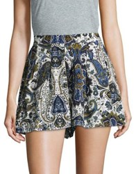 Design Lab Lord And Taylor Paisley Print Shorts Blue