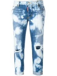 Dsquared2 Glam Head Bleached Pattern Jeans Blue