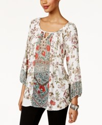 Style And Co Floral Print Peasant Blouse Only At Macy's Canvas