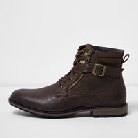 River Island Mens Brown Buckle Lace Up Boots