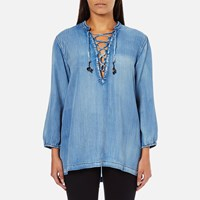 Maison Scotch Women's Drapey Woven Top Blue