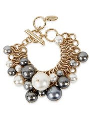 Lanvin Faux Pearl Gold Tone Bracelet White And Grey