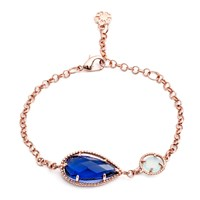 Azuni London Delphi Diametric Bracelet In Iolite And Aqua Chalcedony Rose Gold