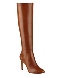 Nine West Holdtight Leather Knee High Boots Cognac