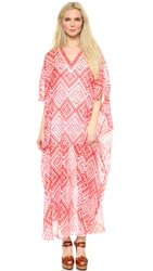 Temperley London Long Marine Print Caftan Red Mix