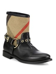 Burberry Queenstead Check And Leather Moto Booties Black