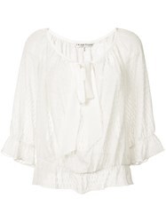 Trina Turk Embroidered Blouse Women Silk Cotton Metal Other Xs White