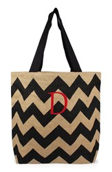 Cathy's Concepts Personalized Chevron Print Jute Tote Grey Black Natural D