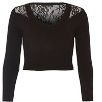 River Island Womens Black Knit Lace Back Crop Top